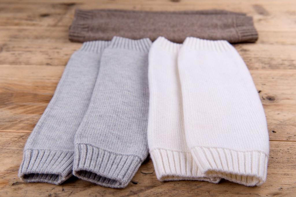 Stulpen für Babys Merinowolle extrafine Braun weiß grau