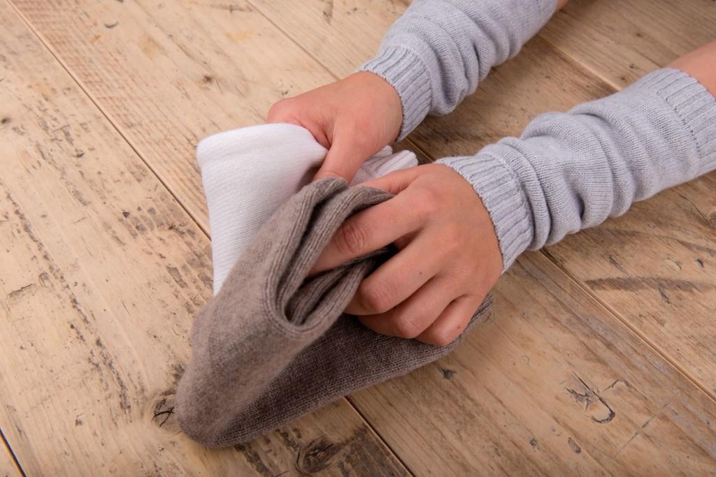 Stulpen für Babys Merinowolle extrafine Braun weiß silbergrau